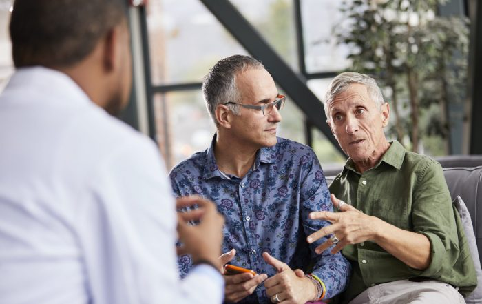 Two men meeting with doctor